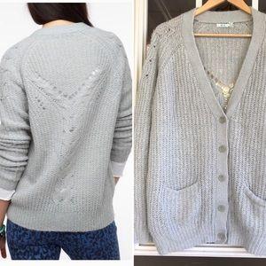 Kimchi Blue gray back stitch cozy cardigan L